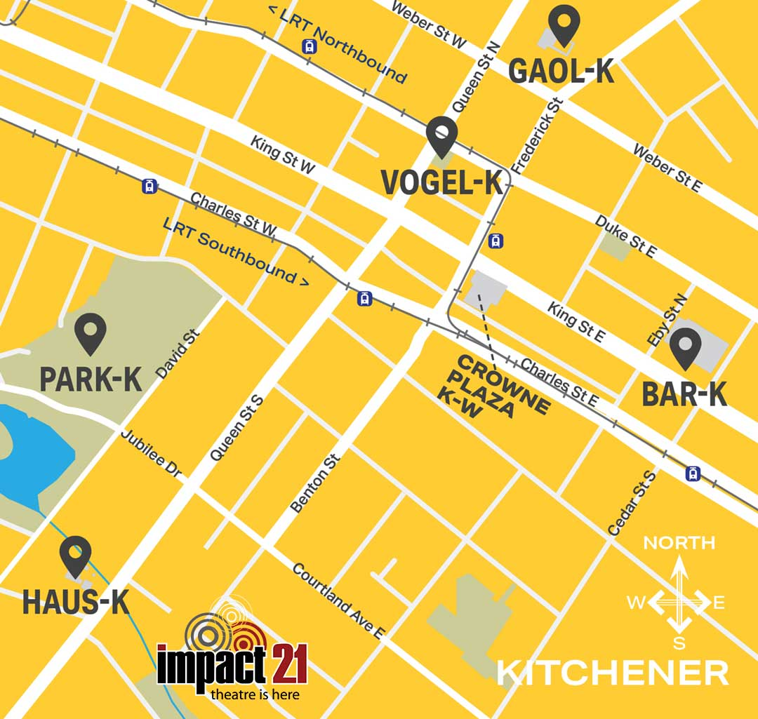 Map of IMPACT 21 venues in Kitchener, Ontario