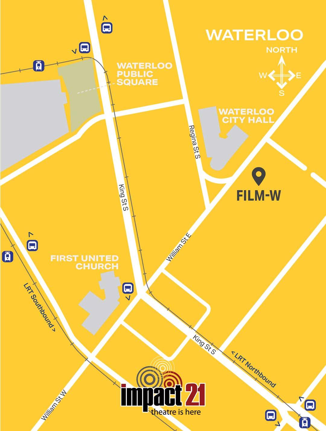 Map of IMPACT 21 venue in Waterloo, Ontario