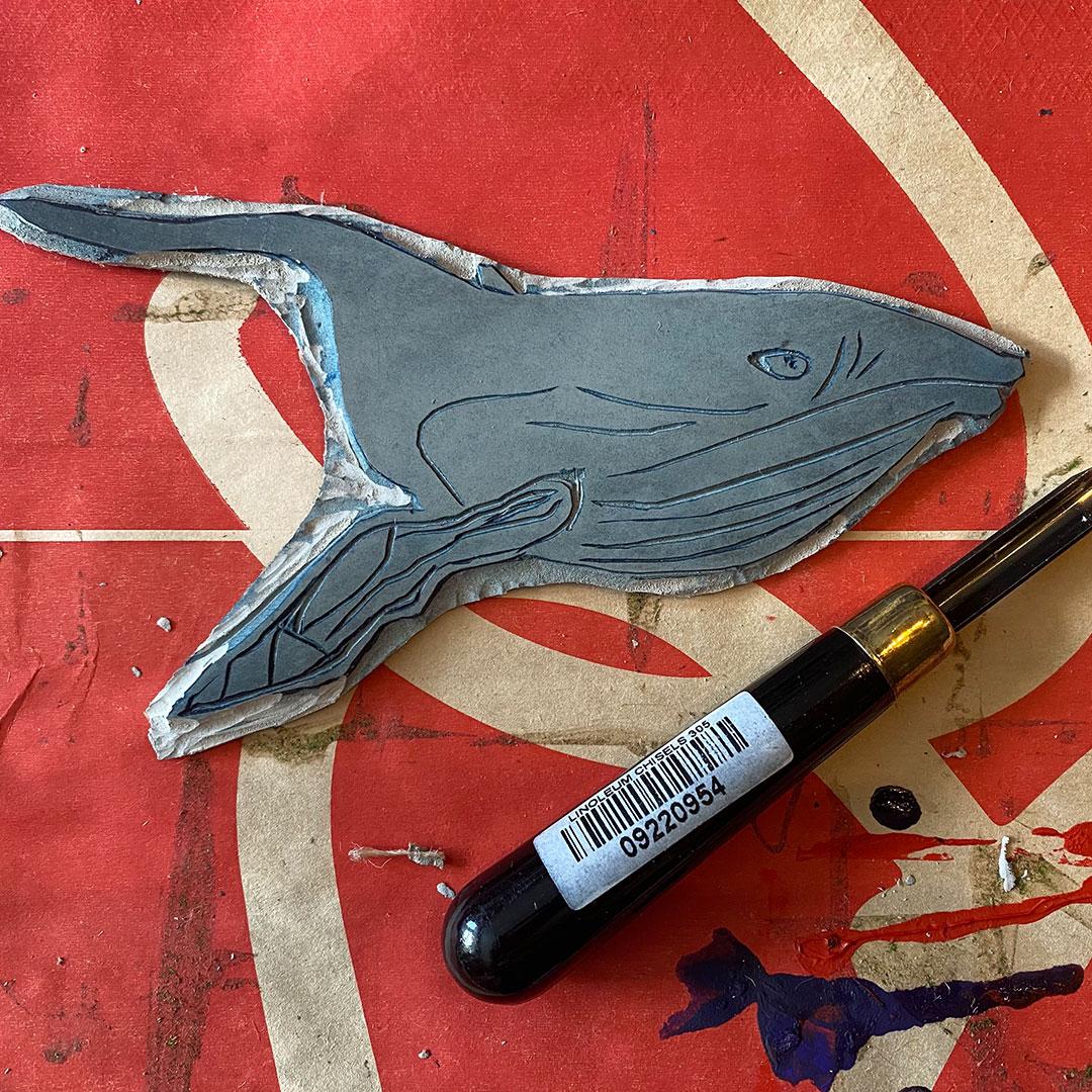 Linocut in Process by Shantell Powell