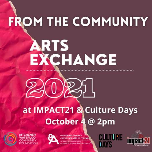 Arts Exchange 2021 as part of Culture Days OCT 4 2pm
